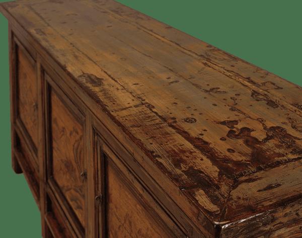 oud-chinees-dressoir-oosterse-meubels-chinese-meubelen-china-groen-oker-204x48x95-koreman-maastricht bovenkant schuin