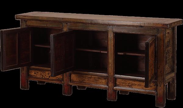oud-chinees-dressoir-oosterse-meubels-chinese-meubelen-china-groen-oker-204x48x95-koreman-maastricht openstaande lades