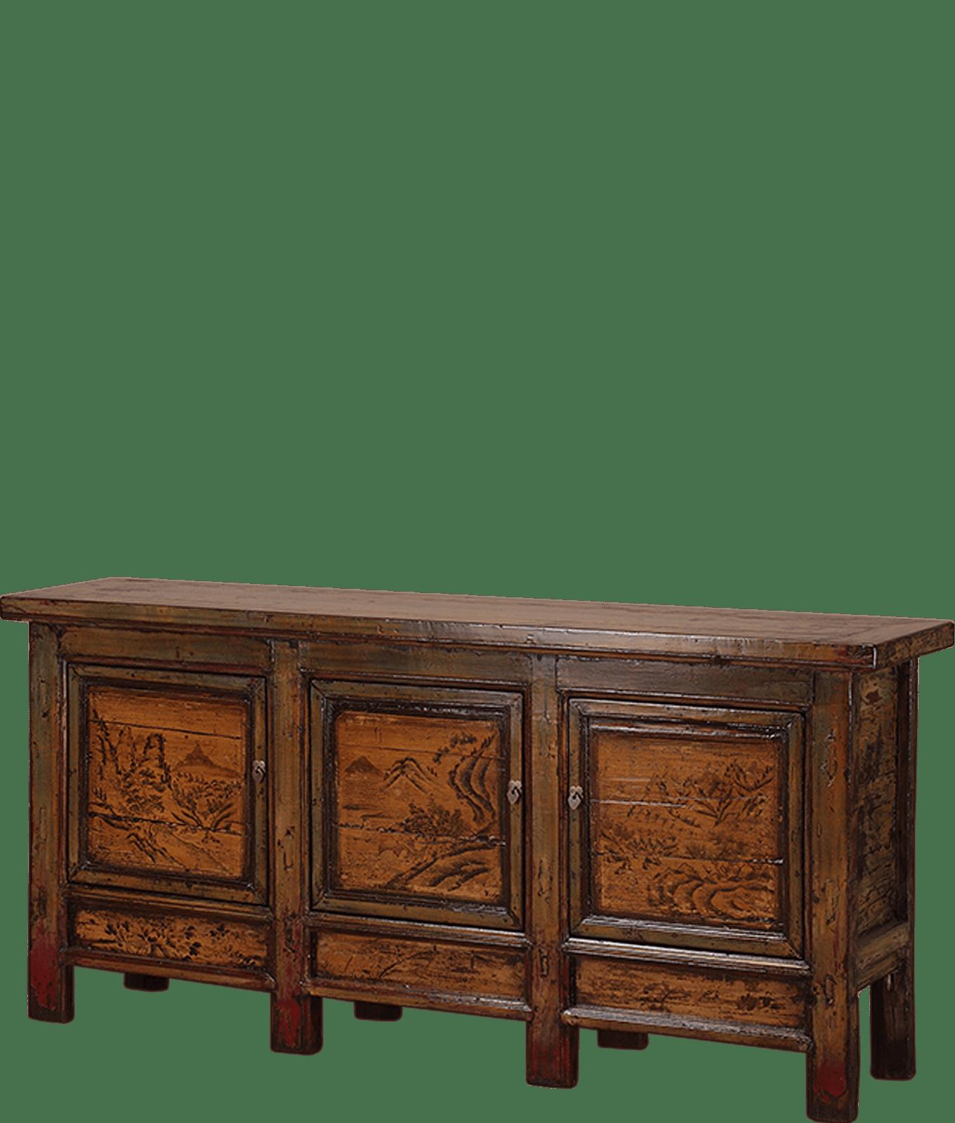 oud-chinees-dressoir-oosterse-meubels-chinese-meubelen-china-groen-oker-204x48x95-koreman-maastricht links kleur
