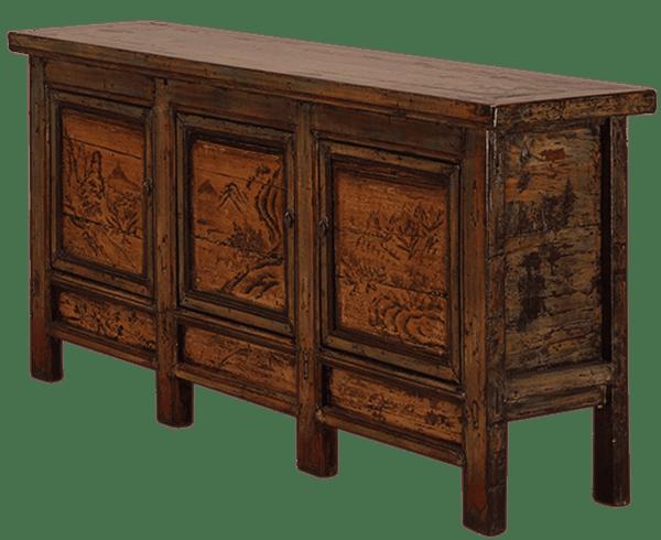 oud-chinees-dressoir-oosterse-meubels-chinese-meubelen-china-groen-oker-204x48x95-koreman-maastricht voorkant links