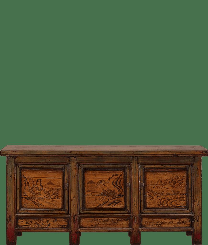 oud-chinees-dressoir-oosterse-meubels-chinese-meubelen-china-groen-oker-204x48x95-koreman-maastricht voorkant