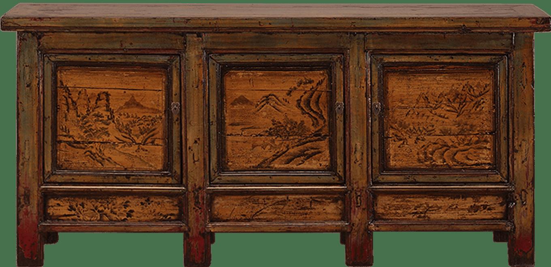 oud-chinees-dressoir-oosterse-meubels-chinese-meubelen-china-groen-oker-204x48x95-koreman-maastricht voorkant detail