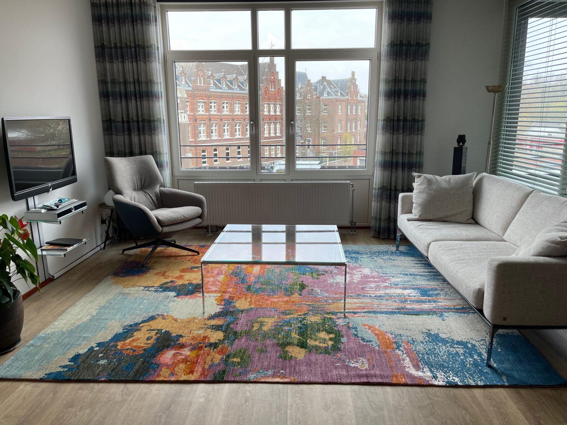 dit avantgarde dripping colours vloerkleed is een kunstwerk in uw interieur.